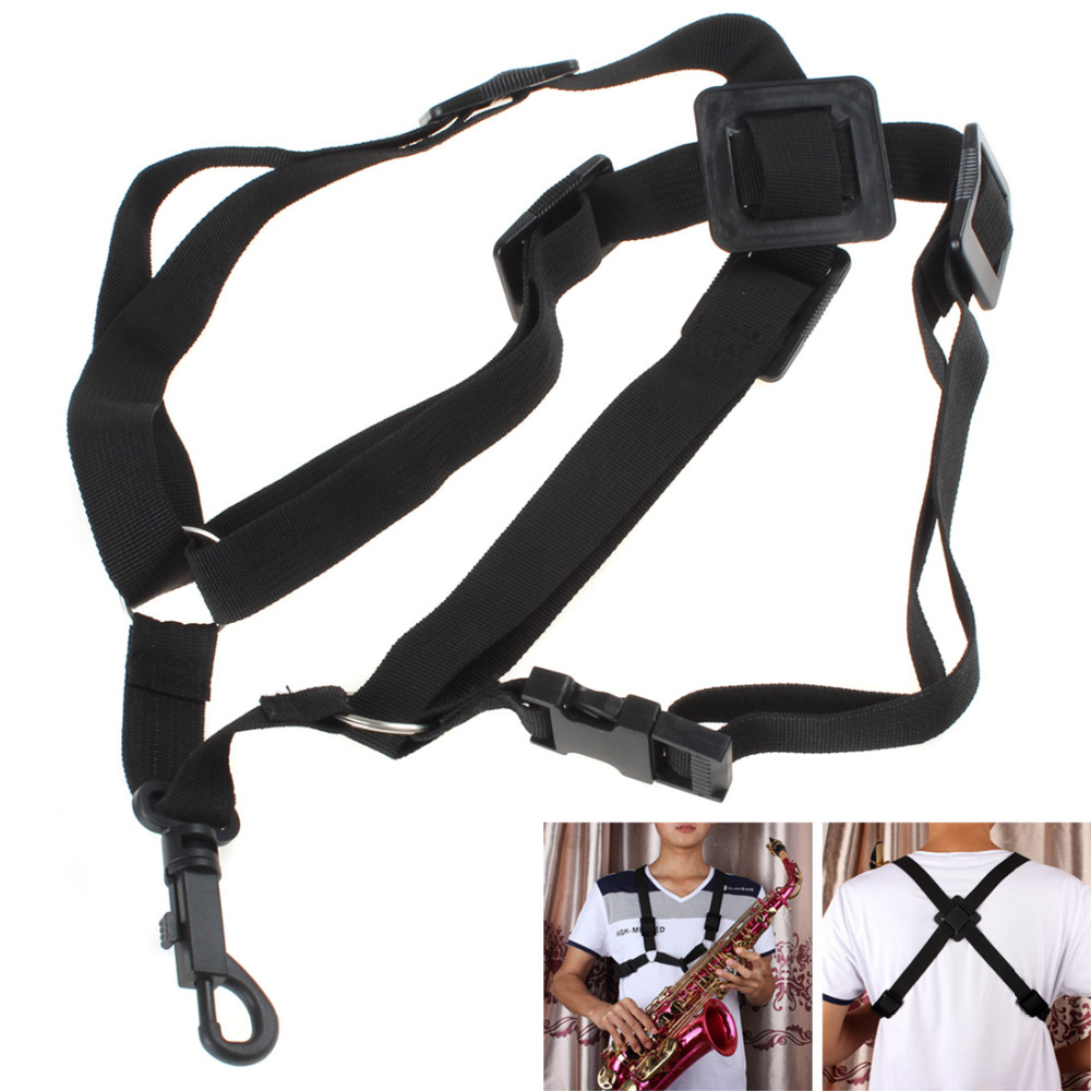 Black Adjustable Universal Saxophone Sax Harness Shoulder Strap Belt For Alto / Tenor / Soprano Saxophone Parts Accessories