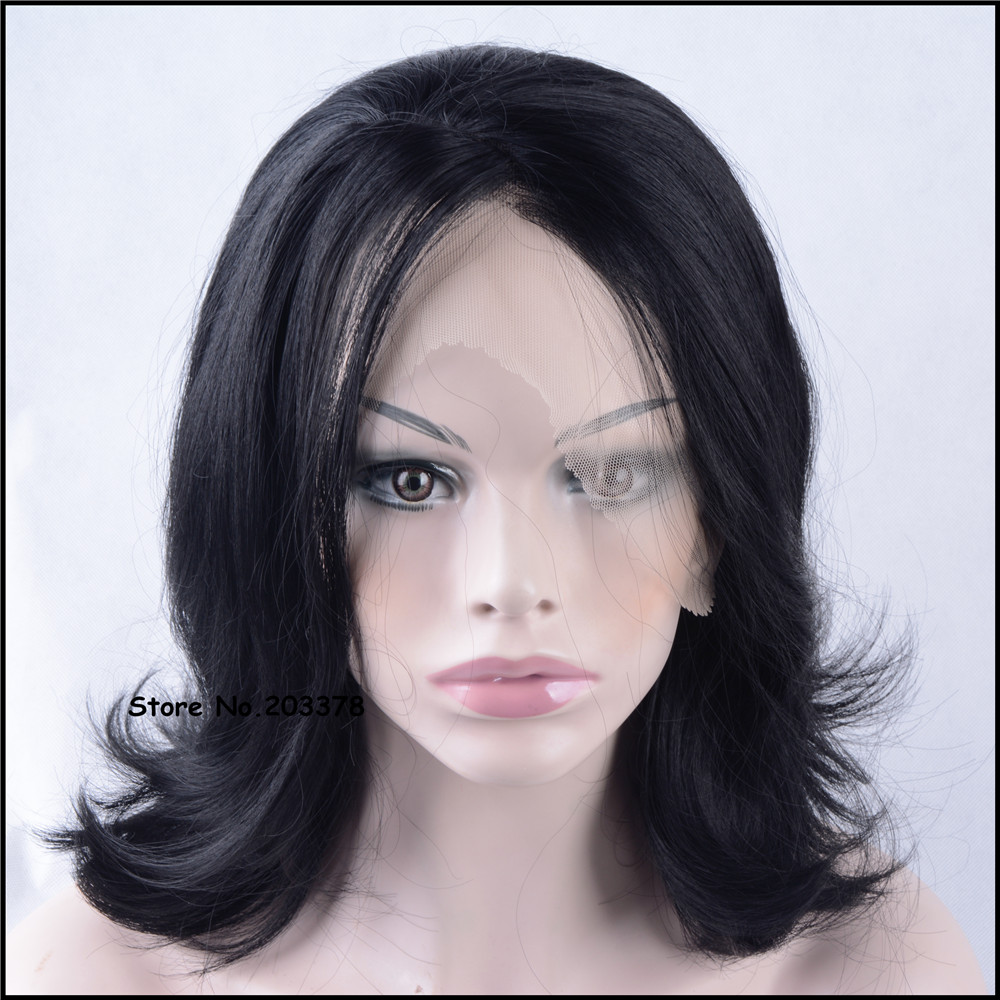 ФОТО Strong Beauty Queen 14 inch Short Wavy Natural Black Lace Front Synthetic Hairstyles Hair  Wigs For Sexy Black Woman