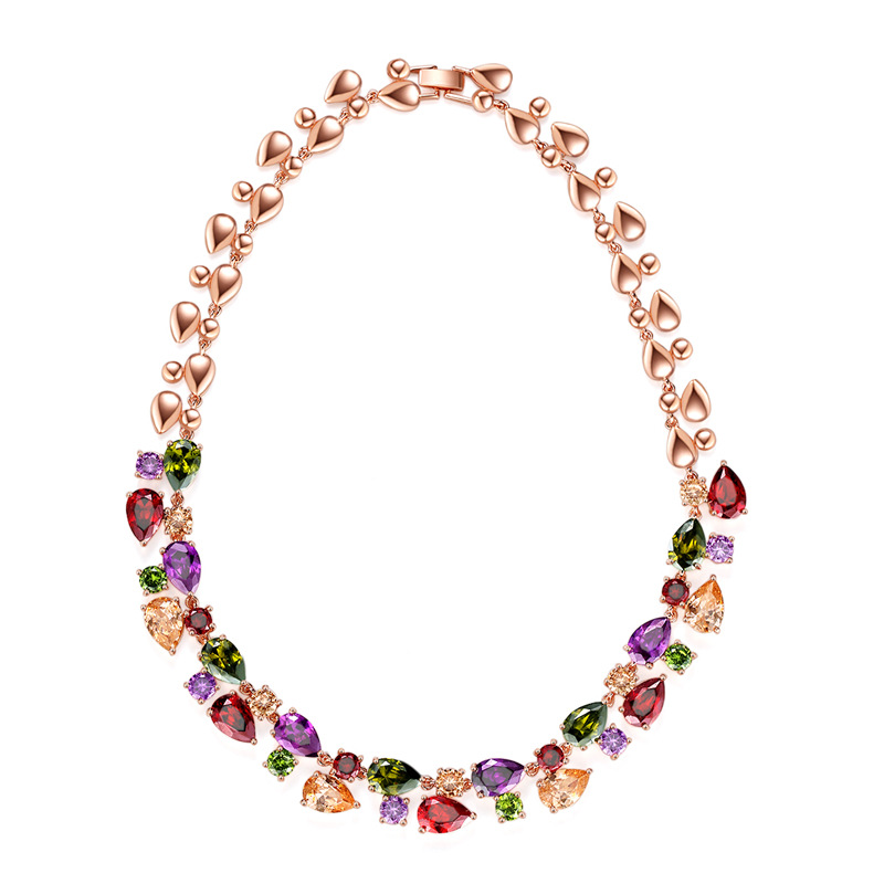 MOONROCY Rose Gold Color Cubic Zirconia Colourful Crystal Necklace Chokers Bohemia Jewelry for Women Girls Gift Dropshipping