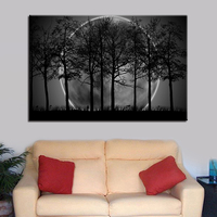 1 Pcs Black White Moon Night Psychedelic Forest Tree Wall Art Poster Picture HD Printed Canvas Painting Tableau Decoration