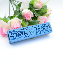 Роскошная Арабская Цветочная форма на заказ Тиффани синяя блестящая бумага внутренняя бумага лазерная резка свадебные коробки