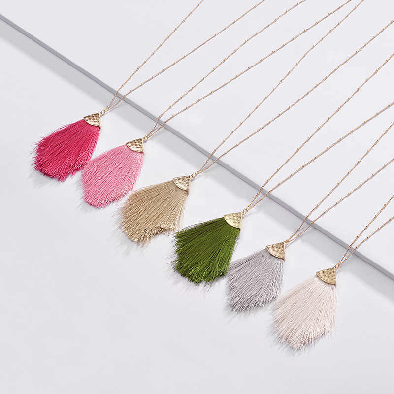 Fashion Jewelry 2019 Spring Summer New Design Colorful Fringed Tassel Pendant Long Chain Necklaces for Women