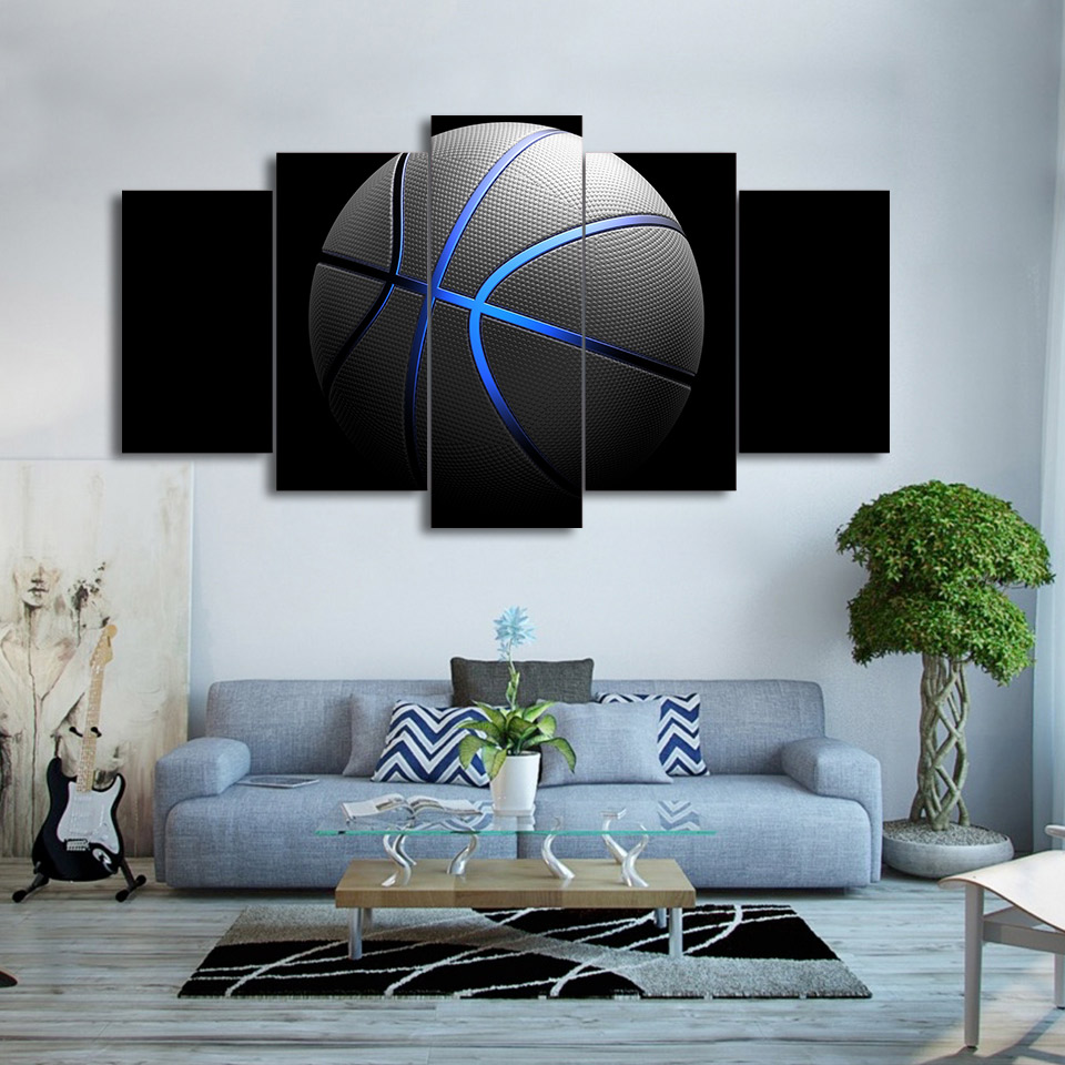 online buy wholesale picture frames lights from china picture canvas wall art picture frame home decor 5 pieces blue light sports basketball for living room