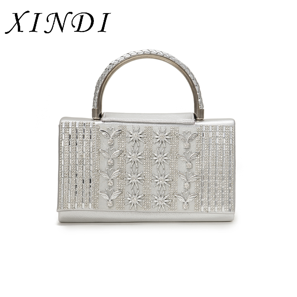Hight Quality women Top-Handle Tote Bags Handbags casual Female Ladie sliver color elegant Women hand Bags with chian for Party