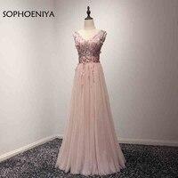 SOPHOENIYA Nuovo Arrivo Abiti Da Sera Tulle in rilievo Abendkleider 2018 Illusion Scollatura Partito Disegni Prom Gowns