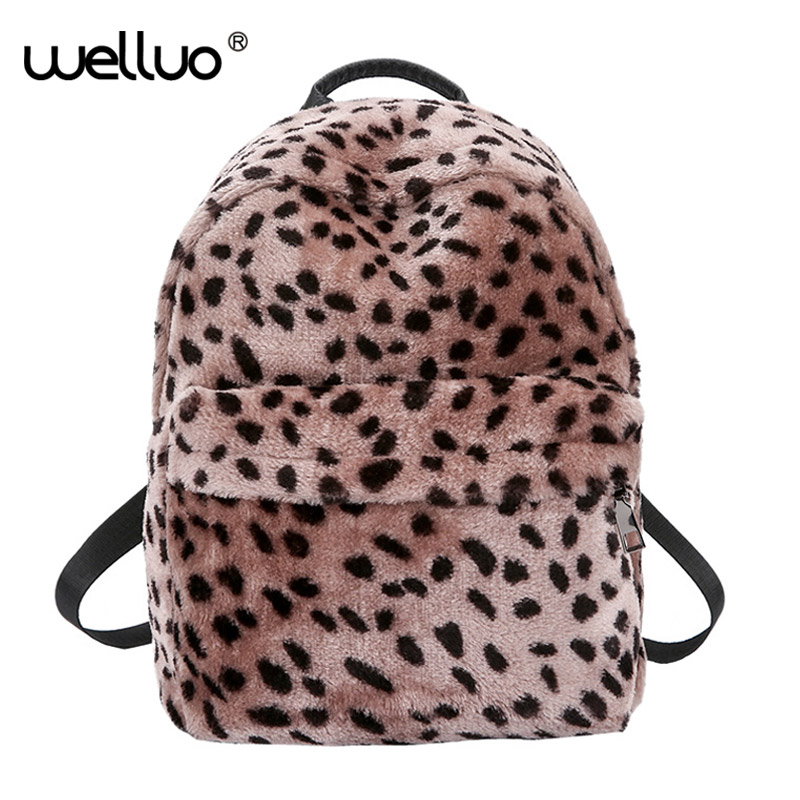 New Women's Leopard Backpack Plush Fashion For Girls Shoulder Bags Large  Capacity Female Leisure Women Mochila Feminina XA512WB