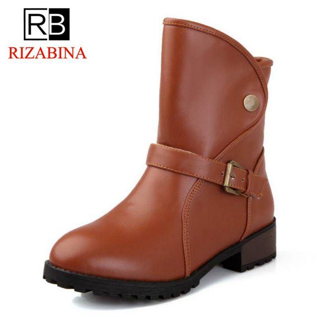 c296e3625 Botas de mujer RIZABINA primavera otoño mujeres Martin botas planas Vintage  hebilla cadenas Tacón cuadrado botas