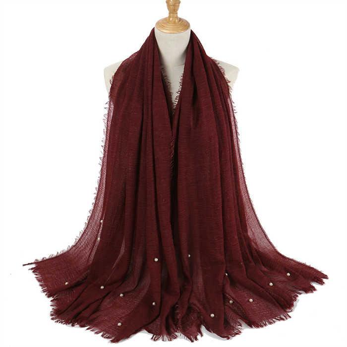 1 шт. женский прозрачный обычный шарф/шарфы с бахромой женские мягкие однотонные морщинки Хиджабы шарф бахрома глушитель мусульманские платки обертывание 55 цветов