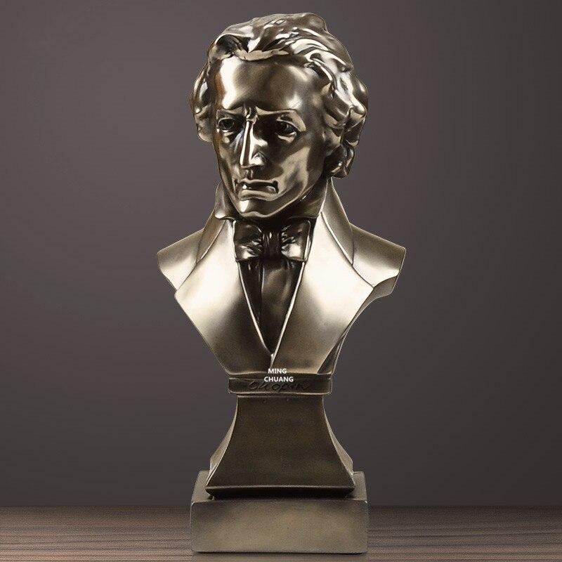 Piani Fryderyk Franciszek Chopin Statua Musicista Busto Composer Ritratto della Testa di Conduttore In Resina Action Figure Da Collezione Model Toy
