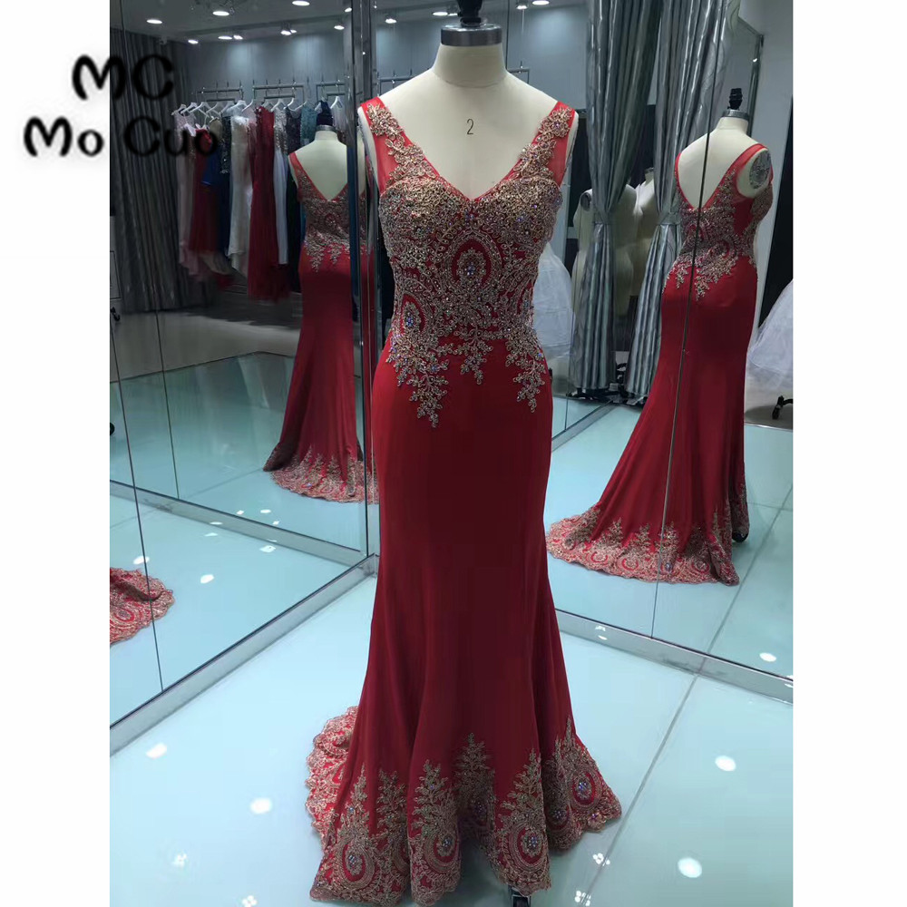 Red Mermaid Prom Dresses Long Sweep Train Sleeveless Zipper Back Gold Appliques Chiffon Formal Evening Party Dress 100% Real