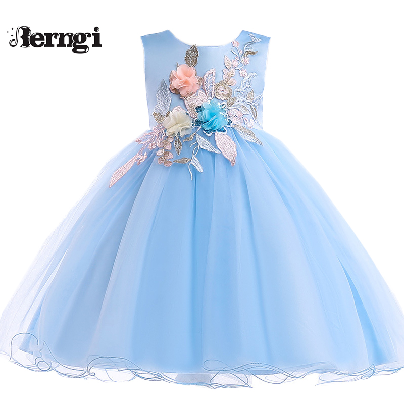 Berngi Girls Brand Quality Flower Dresses Summer Style Girls Princess Clothes Sleeveless Embroidery Design For Child Kids berngi 2 8 years summer 100