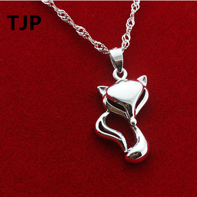 TJP Fashion Animal Style Lady Pendants Necklace Lovely Fox Crystal Choker For Women Wedding Party  Best Summer