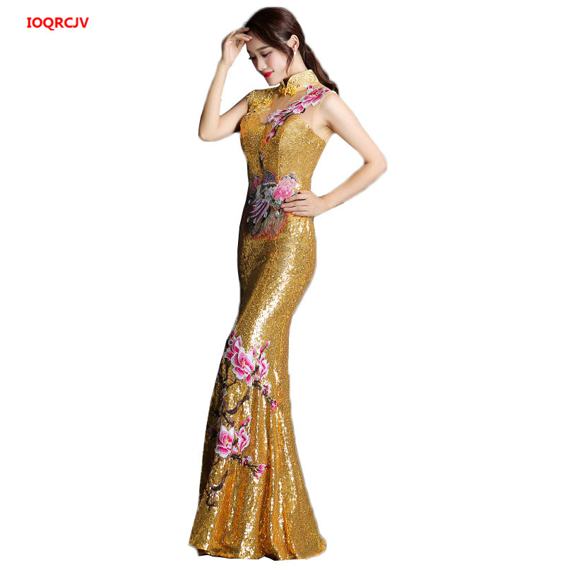 Long Or Grey Red Golden Qipao Mince Sexy Rouge Big Sapphire Élégante 5A34jLR