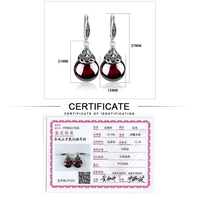 JIASHUNTAI Retro 100% 925 Sterling Silver Round Garnet Drop Earrings For Women Natural Red Gemstone Ruby Fine Jewelry Best Gifts 5