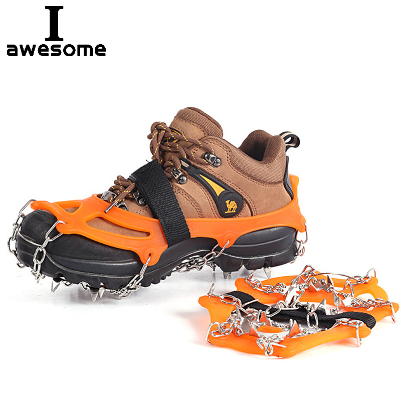 18 Teeth Ice Gripper Spike For Shoes Anti-Slip Anti-Skid Non-slip Shoe Covers Snow Ice Crampons Cleats Grips Climbing Shoe Boots