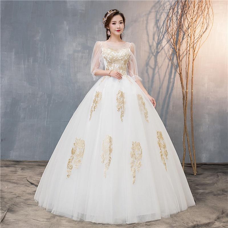Do Dower Ball Gown Off White  O Neck Colorful Wedding Dresses 2019 New Bridal Dress Marriage Customer Made Size Vestido De Noiva