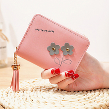 2019 short wallet ladies zipper zero cute flower pattern new PU leather monederos para mujer quality assurance