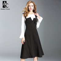 Autumn Winter Woman Dress Set Flare Sleeve White Sweater Black Beige Strip Pattern Calf Length Strap