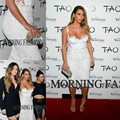 2014 New Kim Kardashian White Sheath See Through Lace Knee Length Short Formal Celebrity Dress Women Gown Free Shipping CD057