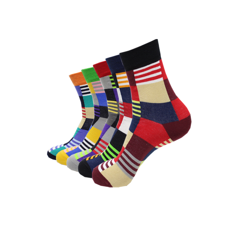 New hot-sell men socks cotton autumn-winter colorful large lattice colorful sock