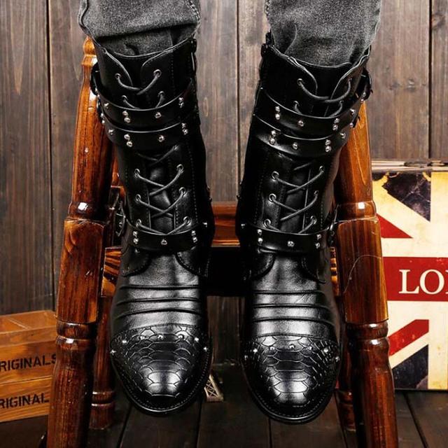 YATNTNPY New Arrival Men Shoes Fashion Rivet High for Martin Boots Black British  leather boots Man bota winter
