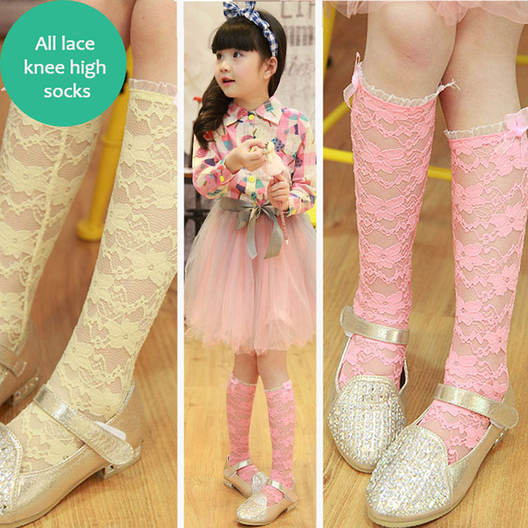 New Arriving One Pairs Kids Girls All Lace Cotton Knee High Socks Young Girls School Boot Socks For 2-7 Years Breathable