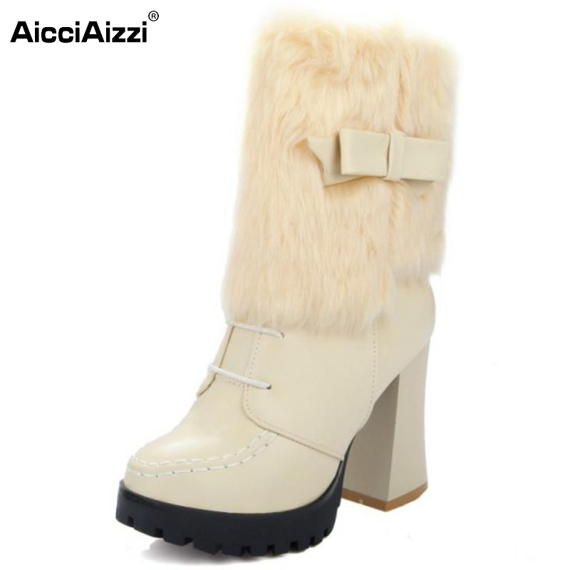 Brand New Women Round Toe Platform Mid Calf Boots Woman Retro Bowtie Thick Heel Botas Winter Warm Fur Heels Shoes Size 33-44 new arrival 2016 winter keep warm women boots low heel round toe platform shoes solid genuine leather mid calf boots