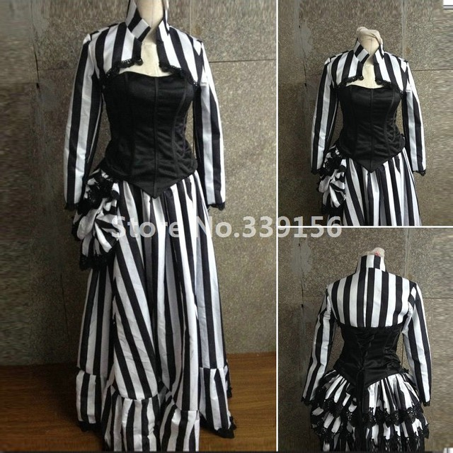 Halloween Black And White Stripe Gothic Victorian Masquerade Historical Dresses  18th Century Steampunk Vintage Ball Gown Dress 429b3c74d273