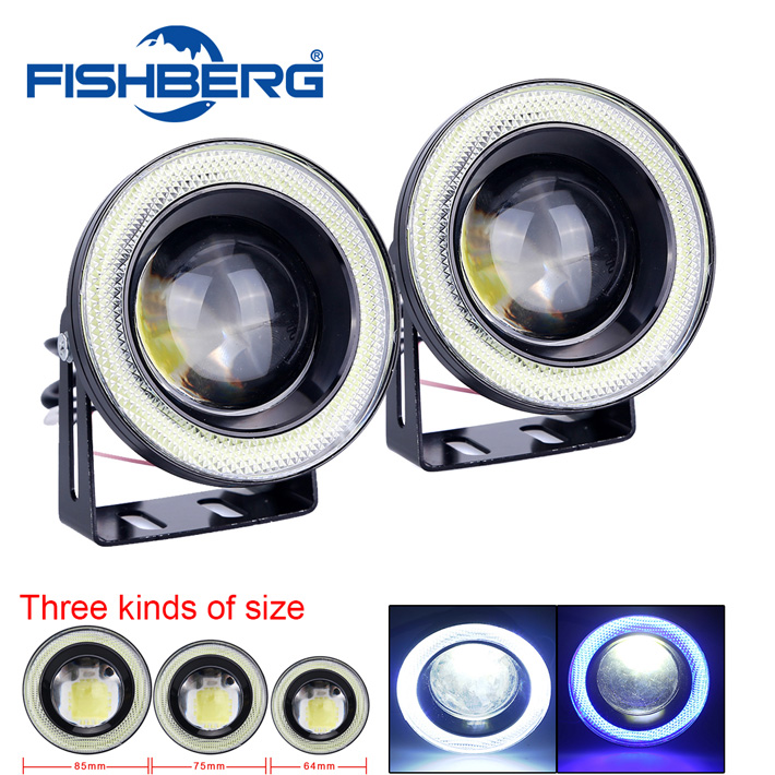 1pair COB 30W Waterproof Projector LED Fog Light With Lens Halo Angel Eyes Rings 5Colors Optional 12V SUV ATV Off Road Fog Lamp