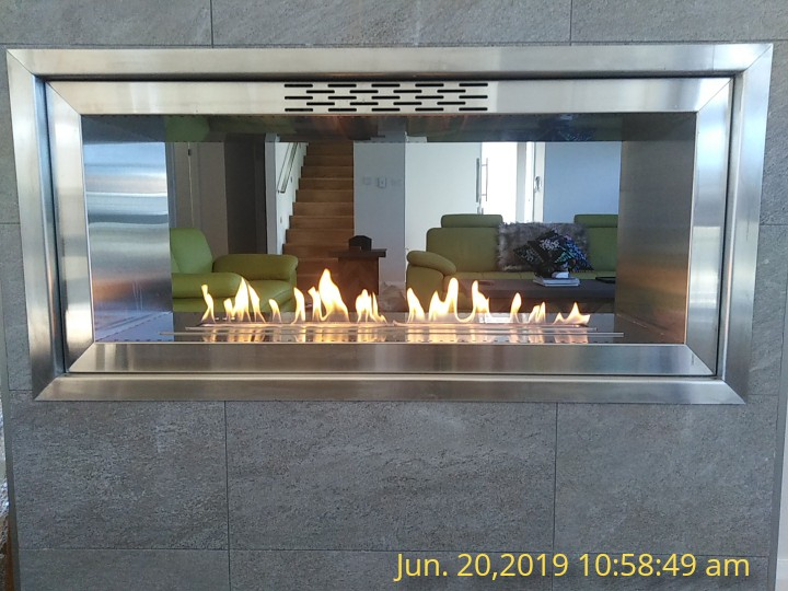 36 Inch Dry Contact Intelligent Real Flame Bio Ethanol Stainless Steel Fireplace