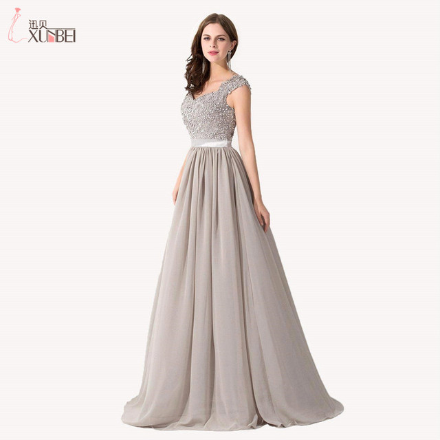 005983dc01a0 2017 Cap Sleeve A Line Lace Bodice Chiffon Skirt Gray Prom Dresses with  Sequins Formal Evening Gowns Vestido De Festa