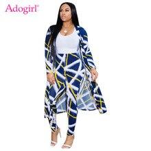 Adogirl S-3XL Fashion Print Casual Two Piece Set 2019 Fall Winter Long Sleeve Cardigan Cloak + Pencil Pants Women