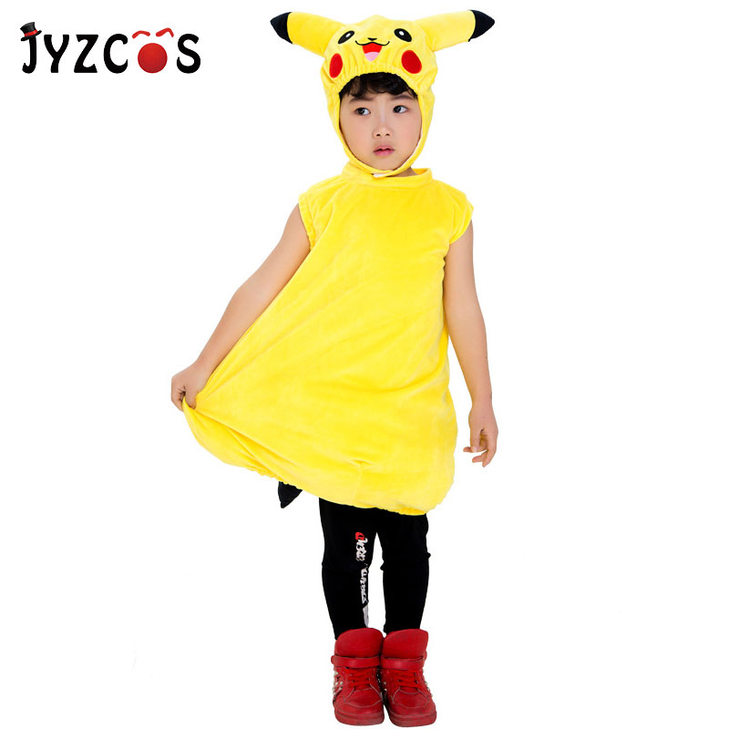 JYZCOS Kids Pokemon Costume Purim Halloween Costumes Anime Pikachu Cosplay Clothes Christmas Carnival Costume