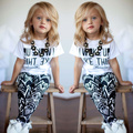2017 Hot Brand Baby Girls Stripe Outfits I Woke Up Like This Letter zebra printed summer T-Shirt+Pants 2Pcs Girls Clothes Set