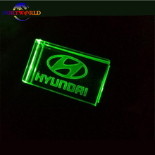 Hyundai накопитель 16 ГБ кристалл прозрачный свет с 3 цвета 8 ГБ автомобиль логотип Memory Stick USB2.0 32 ГБ usb stick