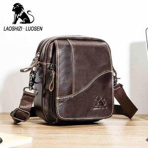 Image 1 - Bolsa de couro genuíno vintage masculina, bolsa de ombro com aba pequena de couro natural