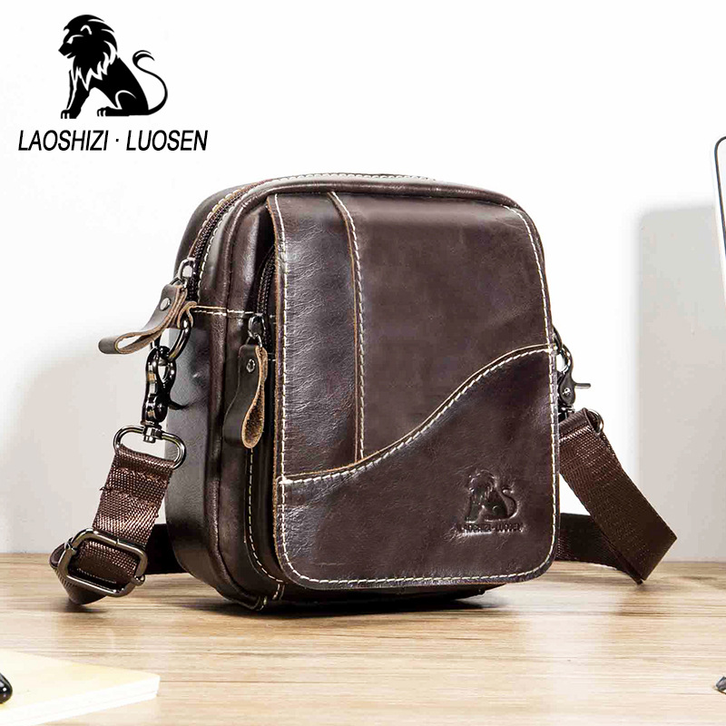Messenger Bag Mens Shoulder Genuine Leather bags Flap Small male man Crossbody bags for men natural Leather bag