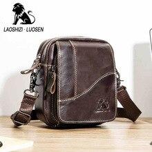 Genuine Leather mini mens Messenger Bag vintage Man Shoulder bags Flap Small Crossbody bags for male natural Leather bag