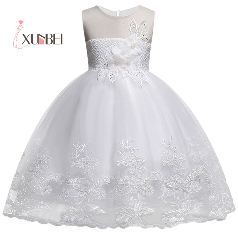 Lovely Knee Length Appliqued   Flower     Girl     Dresses   2019 Tulle   Flower   Kids Pageant   Dresses   First Communion   Dresses