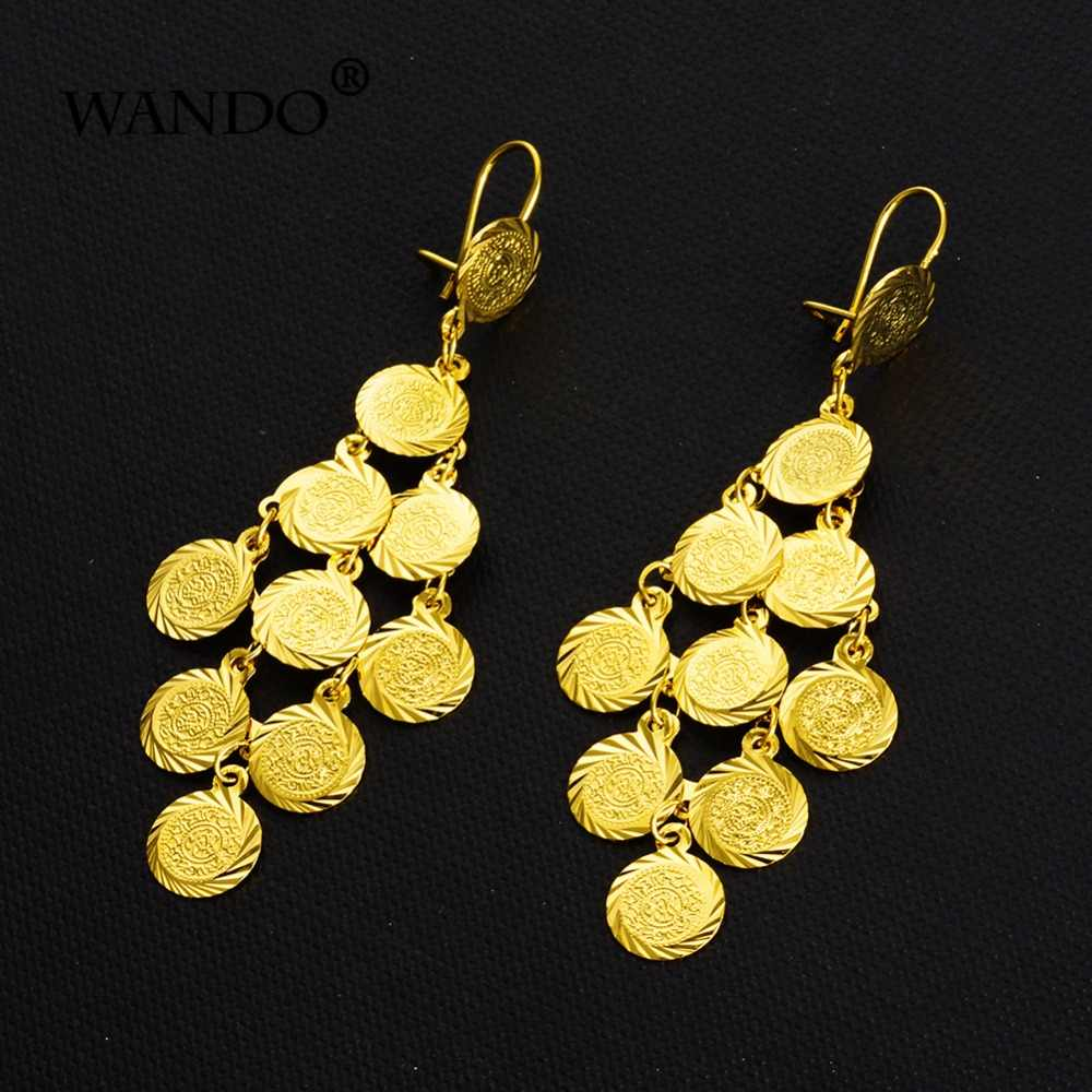WANDO African Tassel Earrings for Women Gold Color Charms Jewelry Ethiopian,Nigeria,Congo,Arab Gift  Coins earrings e4