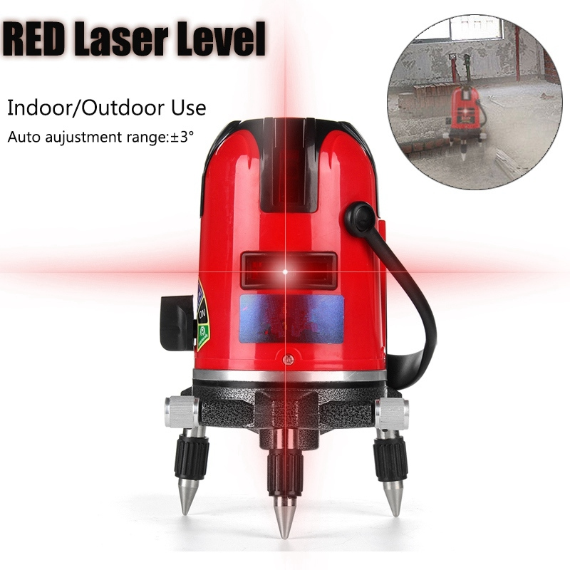 New 2 Lines Red Laser Level 360 Degree Self-leveling Cross Laser Level Chargeable 532nm Red Cross Laser Lines Leveling Tools
