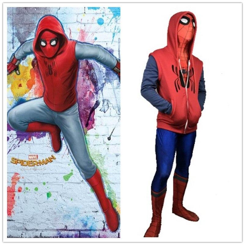 Superhero Movie Spider-Man Homecoming Cosplay Costume Peter Parker Pullover Hoodies Men Sweatshirt Long Sleeve SpiderMan Jacket