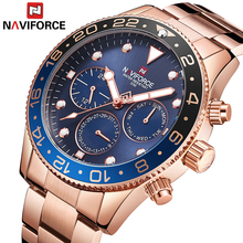 NAVIFORCE relojes deportivos para hombre, 24 horas, fecha, semana, mes, relojes de cuarzo de acero inoxidable, femenino, 2018