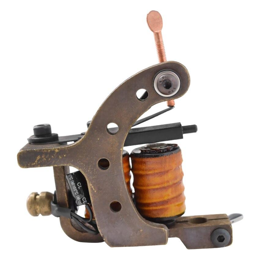 Pistolet à tatouage rotatif enroulé bobine cuivre fait à la main Shader Liner corps Art maquillage Permanent fonte pour tatouage aiguille conseils alimentation
