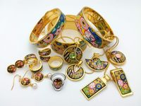 020 Cloisonne enamel jewelry European and American style 4pcs sets