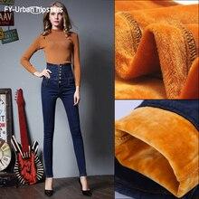 Jeans d'hiver femmes crayon velours taille haute stretch jeans sexy à lacets épais grande taille 6xl chaud femme slim jeans Denim pantalon