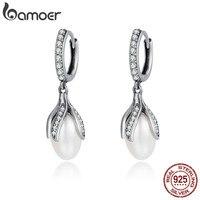 BAMOER Authentic 925 Sterling Silver Blooming Flower Petal Freshwater Pearl Drop Earrings For Women Luxury Silver