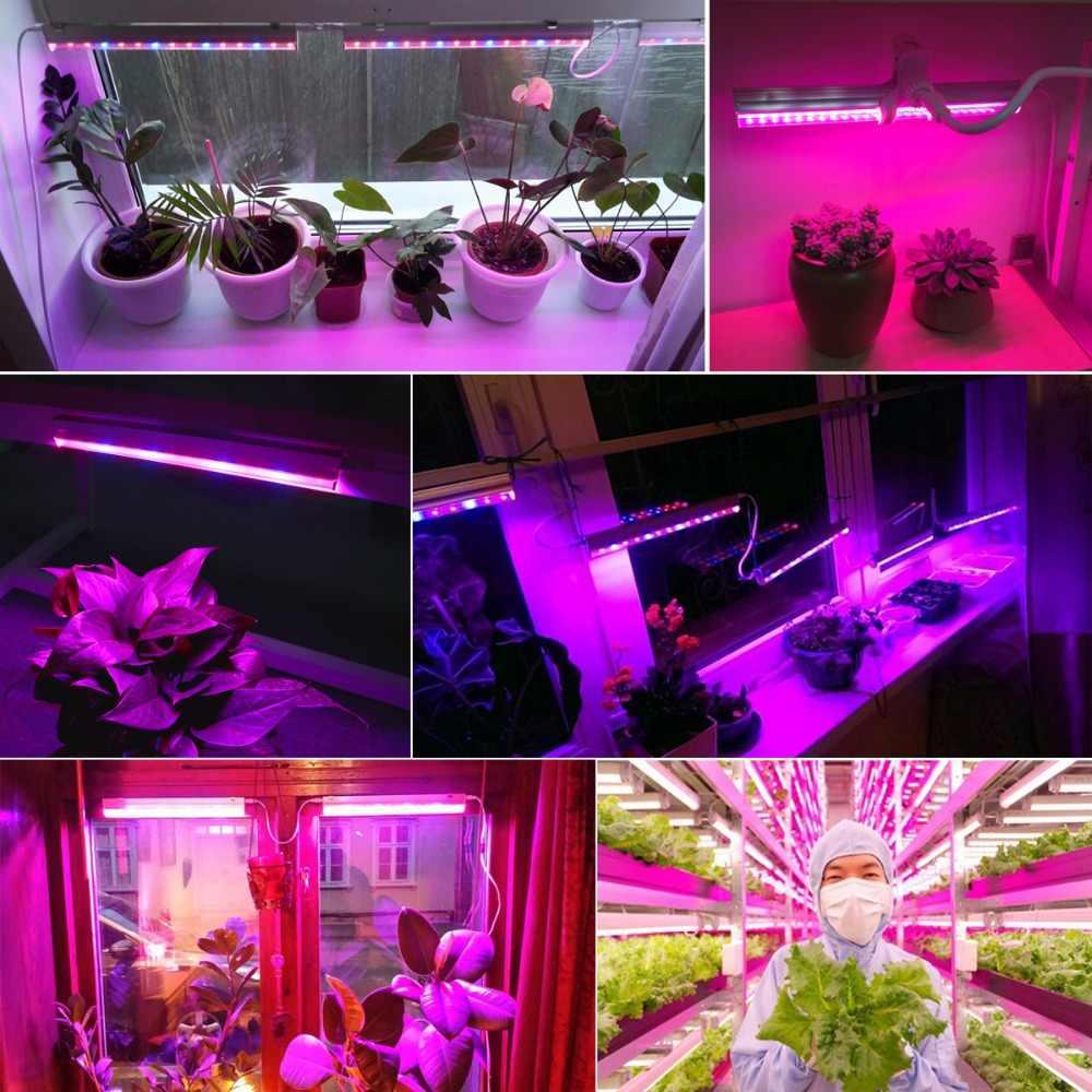 5 Вт, 10 Вт, 15 Вт, 20 Вт, 25 Вт Светодиодный светильник для выращивания 110 В, 220 В, T5, трубчатый светодиодный фито-светильник, полный спектр, светодиодный светильник для выращивания гидропонных растений, штепсельная вилка европейского и американского стандарта