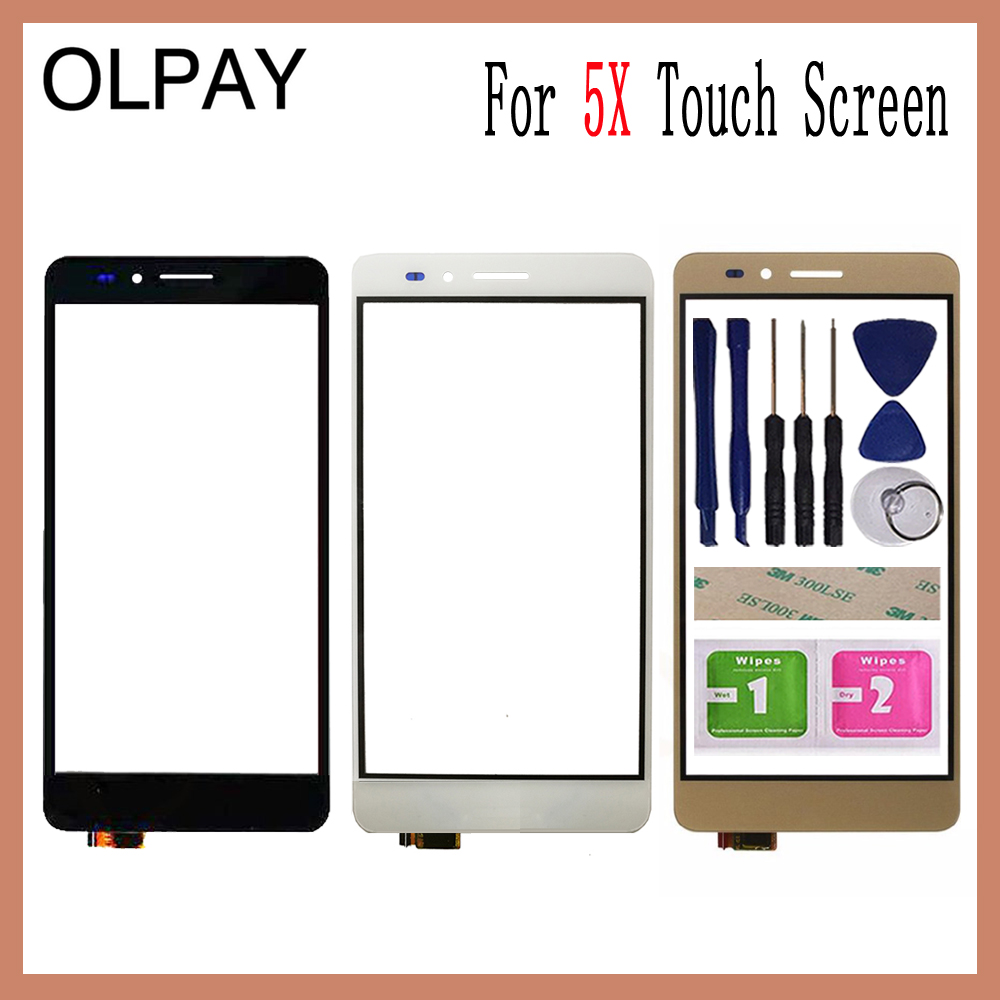 OLPAY 5.5 inch For <font><b>Huawei</b></font> <font><b>Honor</b></font> <font><b>5X</b></font> <font><b>Touch</b></font> <font><b>Screen</b></font> Digitizer Panel Front Outer Front Glass Lens Sensor Free Adhesive+Wipes image