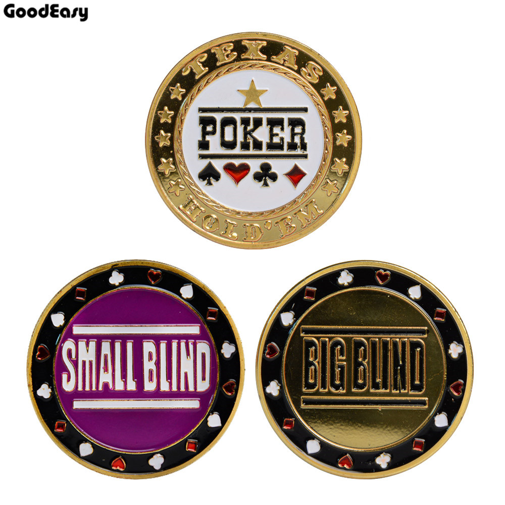 3PCS Casino Poker Metal Texas Poker Chips Black Jack Coins Set Metal Poker DEALER+SMALL BLIND+BIG BLIND Button Accessories